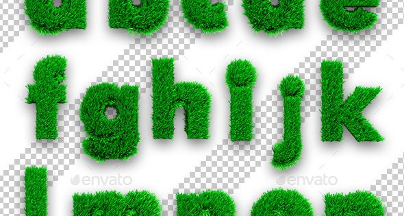 Letters with Green Grass – Text 3D Renders