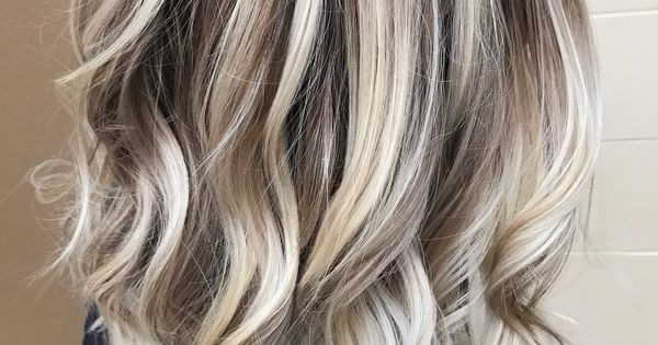 Cool icy ashy blonde balayage highlights shadow root waves and curls blonde hair hair color - Photos meches blondes et noires ...