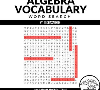 Algebra Word Search With Images Math Words Math Methods Algebra Vocabulary