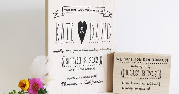 Whimsical custom wedding and RSVP stamp.