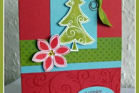 Tree and Poinsettia Merry Christmas Card