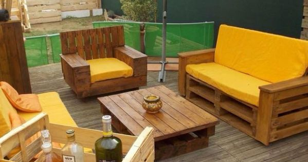 Pallet Wood Deck with Furniture | Pergola | Pinterest | Garden pallet, Pallets garden and Pallet ...