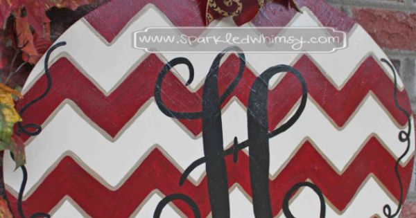 Monogrammed Chevron Ornament Christmas Door Hanger Sign