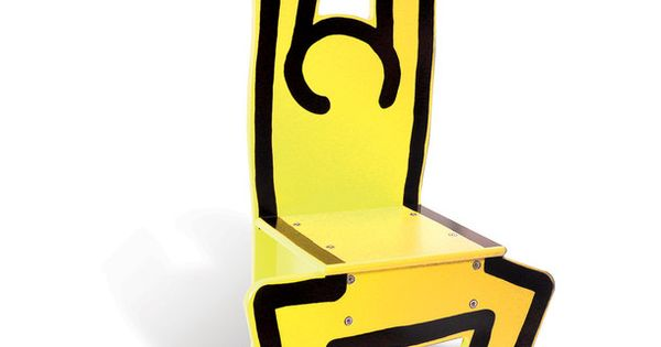 Keith haring chair yellow keith haring 1958 1990 - Chaise art contemporain ...