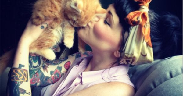 sweet tattoos and adorable cat