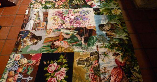 Tapis canevas recup romantique vintage textiles et tapis for Acheter grosse carpe