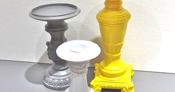 Sunny yellow grey and white ornate candle holder by