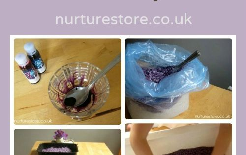 Bedtime sensory tub: lavender dyed rice -- could probably use a little