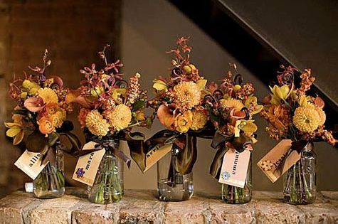 Rustic flowers in mason jars