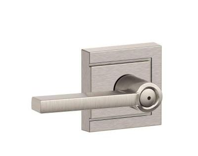 Schlage Latitude Satin Nickel Privacy Bed Bath Door Lever With Upland Trim F40 V Uld 619 Lat The Home Depot Door Levers Schlage Satin Nickel Hardware