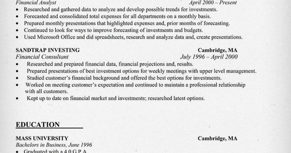 financial analyst resume sample resume samples across