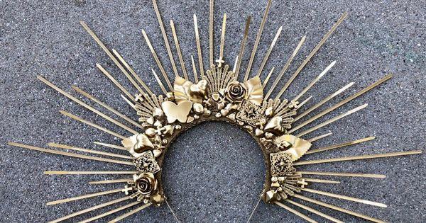 Headband Crystal Vampiress Resin Goddess Crown Spiked Sun Vampire Moon Child Headpiece Red Halo Crown Sunburst