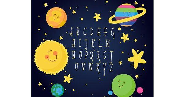 alphabet constellation space by Chikovnaya on @creativemarket