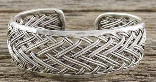 Sterling Silver Artisan Cuff BraceletSilver CuffWide Cuff Gift for her