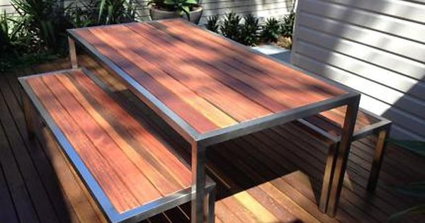 Stainless Steel Timber Outdoor Table Setting Can Change Size Outdoor Dining Furniture Gumtre Outdoor Table Settings Outdoor Table Outdoor Dining Furniture