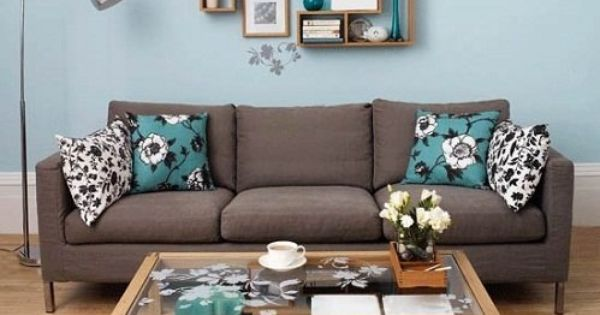 Brown teal grey white living room but great inspiration - Tiffany blue and brown living room ...