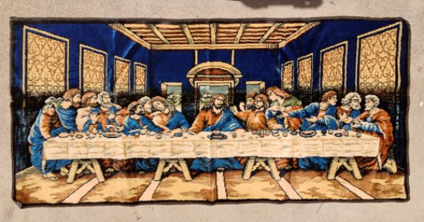 Last Supper Tapestry Rug Wall Hanging Vintage 1960s 60s