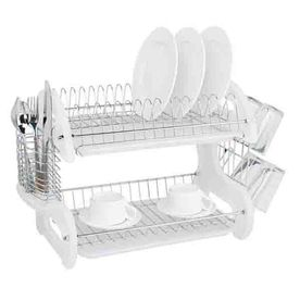 Home Basics 11 In W X 22 In L X 13 5 In H Plastic Dish Rack And Drip Tray Dish Drainers Home Basics Dish Racks