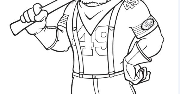 49ers Mascot Sourdough Sam Coloring Page San Francisco Coloring Pages 49ers