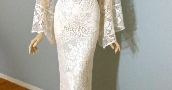 Cream Lace Backless Bohemian Wedding Dress Simple Wedding: Bohemian WEDDING Dress Cream Backless LACE Wedding By