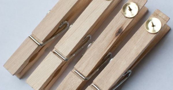 Glue Tacks To Clothespins To Hang Pics On Bulletin Boards
