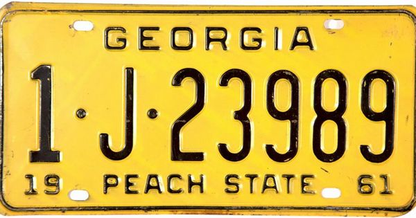 1961 Georgia License Plate License Plate Car License Plates