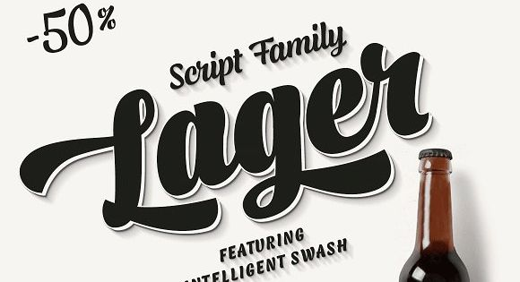 Lager is a plump, sympathetic and tasty script family inspired by good old American commercial lettering of mid-1900s