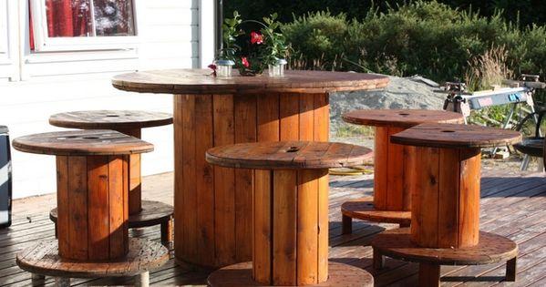 Carrete de alambre mesa decoraci n patio trasero de for Muebles de madera para patio
