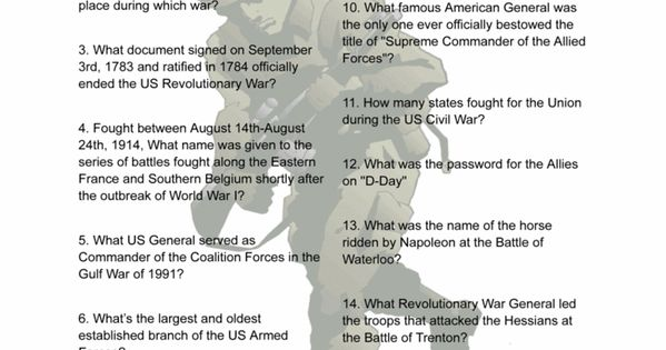Military Trivia History Printable Game Veterans Day