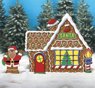 Santa Elves Gingerbread Santa House Woodcraft Pattern Christmas Yard Decorations Christmas Yard Art Outdoor Christmas Decorations