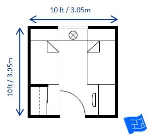10ft X 10ft Bedroom Size For Twin Beds Allows For A Good Space Between The Beds And A Wardrobe And Desk Bedroom Size Child Bedroom Layout Small Bedroom Layout