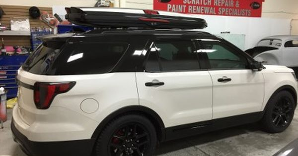 This Brand New Ford Explorer Came In For Some Special Customization The Top Half Of The Car Was Wrapped Glos Custom Headlights New Ford Explorer Ford Explorer