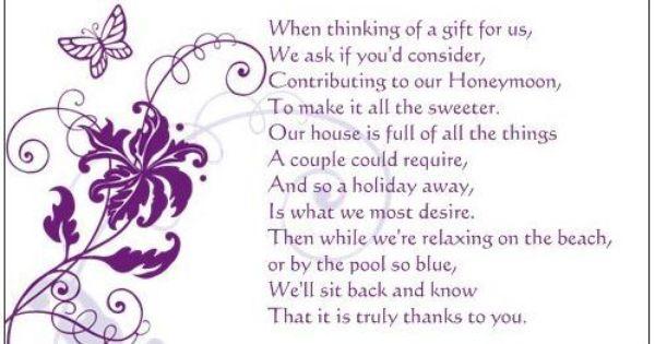50 Wedding Poem Cards Ask For Money Towards Honeymoon Wedding Poems Honeymoon Fund Poem Wedding Gift Poem
