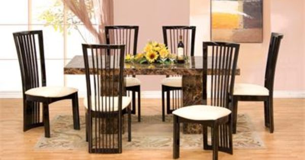 7pc Maegan 65 Round Brown Cherry Table Set Dining Table Marble Marble Dining Table Set Round Dining Table
