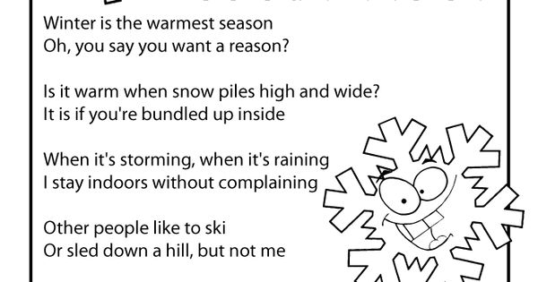 Printable winter kids poems, perfect reading practice for ...