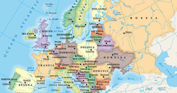 Cartina Politica Dell Asia Con Stati E Capitali.Stati Europei E Capitali Mappa Geografia Mondo Europa