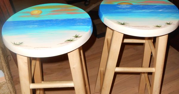 Set Of Round Solid Wood Bar Stools Perfect For A Tropical