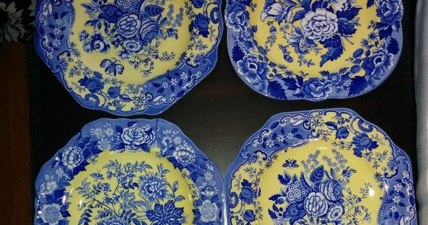 spode blue yellow toile set of 4 salad luncheon plates used once glassware dishes vases etc. Black Bedroom Furniture Sets. Home Design Ideas