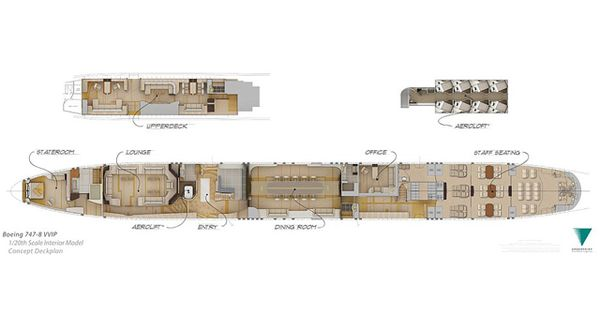 The Floor Plan For The Boeing 7478 Plane Which Includes A Hideaway 39Aero