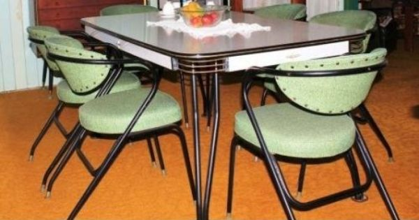 Retro Vintage Laminex 6 Seat Dining Suite Table 6 Vinyl Arm Chairs