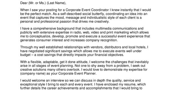 Marketing Event Coordinator Cover Letter Sample Resume For A Pr