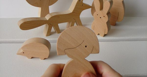 Gift ideas Wooden toy girl and forest friends by baby toy children