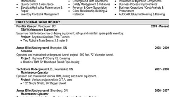 A Resume Template For A Maintenance Supervisor. You Can