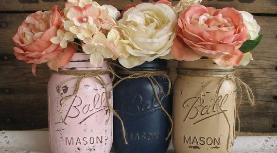Mason Jars, Painted Mason Jars, Rustic Wedding Centerpieces, Baby Shower Decorations, Navy