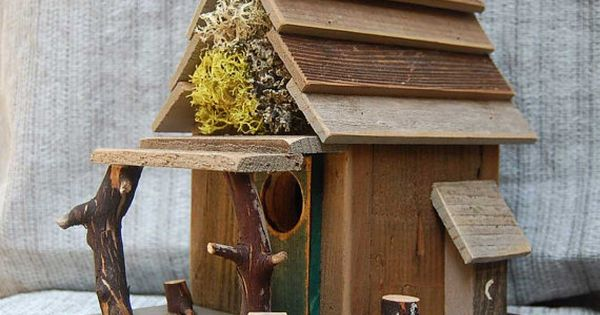 Rustic birdhouse with porch natural barn wood bird house - Old barn wood bird houses ...