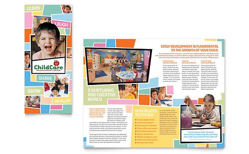 Preschool Kids Day Care Brochure Template Desain Grafis Desain