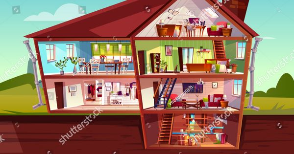 House Cross Section Vector Illustration Of Home Interior And Furniture Cartoon Private Mansion Floors Plan Of Attic L House Interior House Mansion Floor Plan