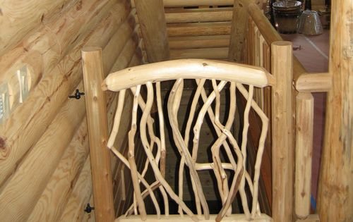 Log And Twig Gate For The Top Of The Stairs Looks