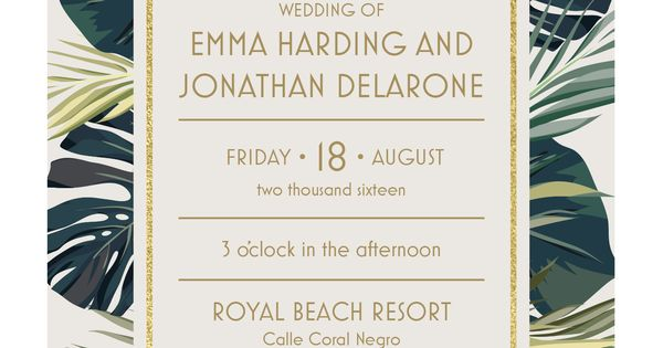 Vistaprint Invitations Wedding: Palm Leaves Wedding Invitation