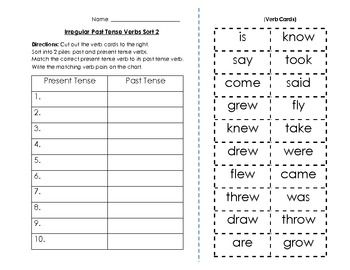 irregular past tense verbs sort and key 2 free irregular past tense irregular past tense verbs verb sort